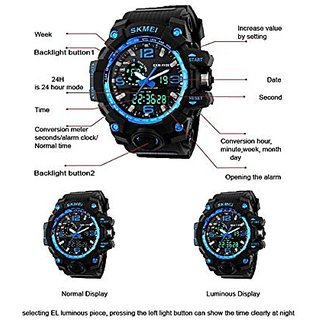 Skmei Analogue-Digital Light Blue Dial Mens Watch