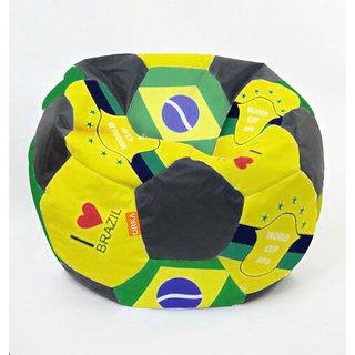 Orka Football STR105B_Brazil_FL XXL Bean Bag with Beans (Multicolour)