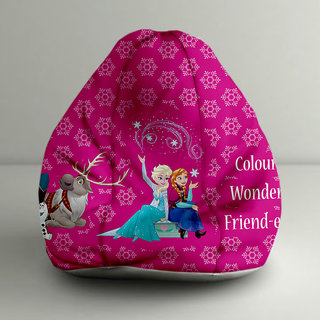 ORKA Frozen - Anna & Elsa Digital Printed Bean Bag XXXL Filled with Beans