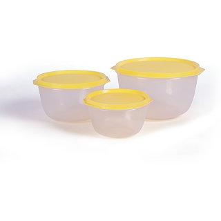 Incrizma Plastic 6-piece Yellow Lid Plastic Bowl Set - SET OF 6