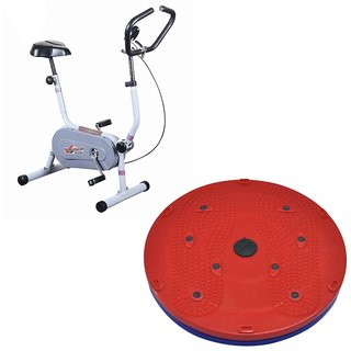 Deemark Exercise Bike 204 With 5 in 1 Twister slimmer Combo Pack
