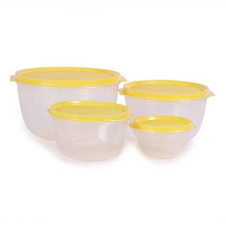 Incrizma Plastic 8-piece Yellow Lid Plastic Bowl Set - SET OF 8