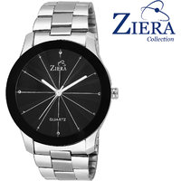 Ziera ZR7007 3D Glass Black Titanium Analog Watch - For