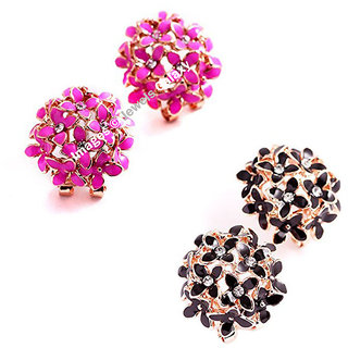 Jewels Galaxy Exclusive Luxuria Elegant American Diamond Floral Designer Earrings For Women/Girls - Combo of 2