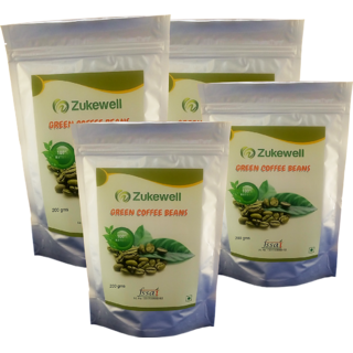 Zukewell Green Coffee Beans Unroasted Arabica Coffee Beans - 200gm for Weight Loss Management Pack of 4