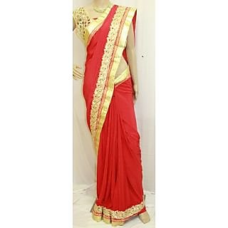 Graceful Pure Crepe And Zari  Sari Red