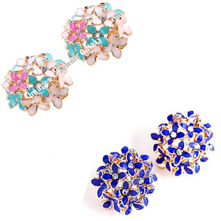 Jewels Galaxy Exclusive Luxuria American Diamond Floral Designer Stunning Earrings For Women/Girls - Combo of 2