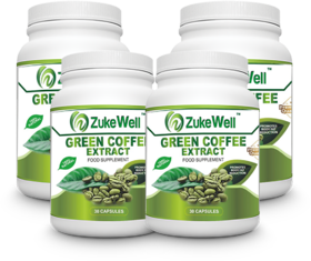 Zukewell Green Coffee Beans Extract (50 CGA) for Weight Management-30 Pure Veg Capsules Pack of 4