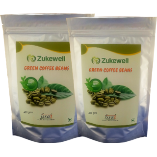 Zukewell Green Coffee Beans Unroasted Arabica Coffee Beans - 400gm for Weight Loss Management Pack of 2