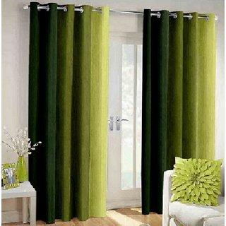Shri Shyam Furnishing  Green Door Eyelet Curtain Set of 2