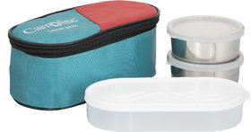 Carrolite 3 in 1 Green Lunchbox2 Steel Container1 Plastic Chapati tray