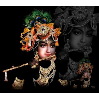 MYIMAGE Lord Shree Krishna Beautiful Canvas Cloth Poster (Canvas Cloth Print, 12x18 inch)