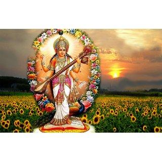MYIMAGE Maa Saraswati Beautiful Canvas Cloth Poster (Canvas Cloth Print, 12x18 inch)