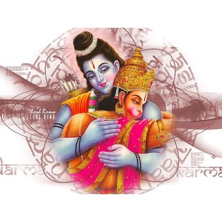 MYIMAGE LordRam and Hanuman Beautiful Canvas Cloth Poster (Canvas Cloth Print, 12x18 inch)