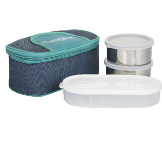 Solace Blue-Green Lunchbox-2 Steel Container1 Plastic Chapati tray