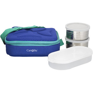 Carrolite Andy Blue2 Steel Container1 Plastic Chapati tray