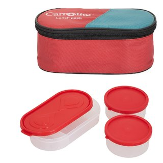 3 in 1 Red Lunchbox-2 Plastic Container:1 Plastic Chapati tray