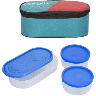 Carrolite 3 in 1 Green Lunchbox2 Plastic Container1 Plastic Chapati tray