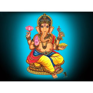 MYIMAGE Lord Shree Ganesh Beautiful Canvas Cloth Poster (Canvas Cloth Print, 12x18 inch)