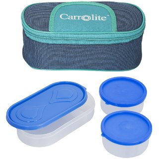 Solace Blue-Green Lunchbox-2 Plastic Container1 Plastic Chapati tray