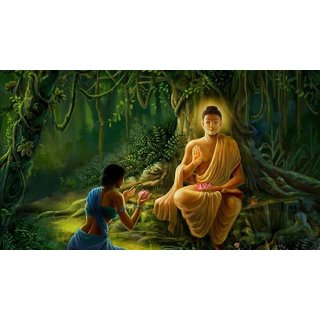 MYIMAGE Lord Gautam Buddha Beautiful Canvas Cloth Poster (Canvas Cloth Print, 12x18 inch)