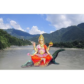 MYIMAGE LordMaa Ganga Beautiful Canvas Cloth Poster (Canvas Cloth Print, 12x18 inch)