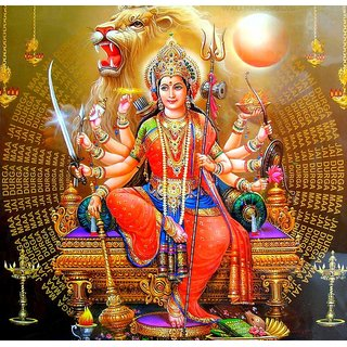 MYIMAGE Maa Durga Beautiful Canvas Cloth Poster (Canvas Cloth Print, 12x18 inch)