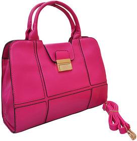 Azzra Pink Handbag With Buckle Closer