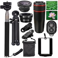 10in1 Lens Kit 8x Telescope Lens Fish Eye Wide Angle Macro Lens Selfie Stick Bluetooth Remote Mini Tripod