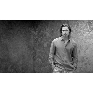 MYIMAGE Hollywood Star Brad Pitt Digital Printing Canvas Cloth Poster (Canvas Cloth Print, 12x18 inch)