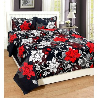 Luxmi Super Soft Many Flowers Double Bed Sheets With 2 Pillow Covers   Red  Black