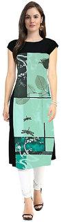 Glance Designs Woman's green crepe straight cut kurti