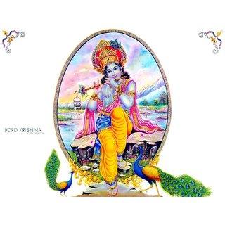 MYIMAGE Lord Shree Krishna Beautiful Canvas Cloth Poster (Canvas Cloth Print, 12x18 inch)