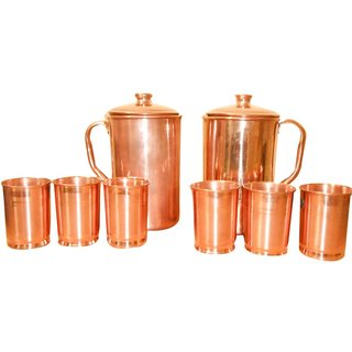 2 Copper Jugs With Set Of 6 Copper Glasses