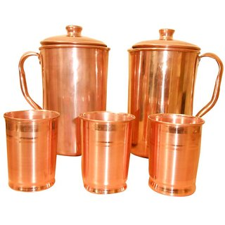 2 Copper Jugs With Set Of 3 Copper Glasses