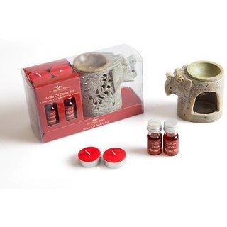 The Fragrance People Soapstone Aroma Burner (10 cm x 10 cm x 14 cm, Red)