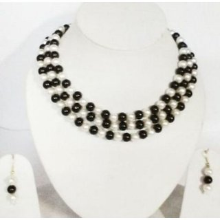 SMART STRINGS Black and White Pearls Jewellery Necklace Set Size- 16-18 inches