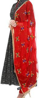 Weavers Villa Punjabi Hand Embroidery Phulkari Buty Work Faux Chiffon Red Dupatta, Stoles