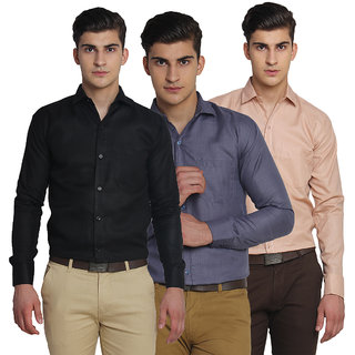 VAN GALIS FASHION WEAR Multicoloured FULL SLEEVES COTTON SHIRT FOR MENS - PACK OF 3