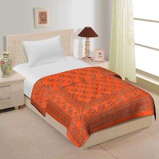 Spangle  Traditional Jaipuri single side Gold Printed  Razai - Single Bed