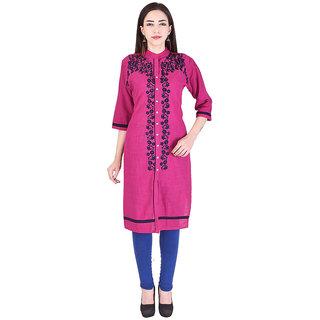 Mudrika Women's Cotton Embroidered Pink Straight Kurti