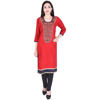 Mudrika Women's Cotton Embroidered Red Straight Kurti