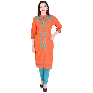 Mudrika Women's Cotton Embroidered Orange Straight Kurti