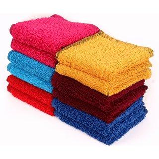 Home Berry 450 GSM Multicolour Cotton Face Towel (26cmX26cm)(Pack of 10)