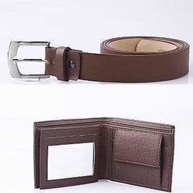 Deal Combo Of Brown Leatherite Belt For Men and Brown Wallet
