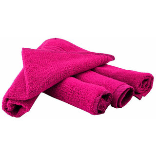 Home Berry 450 GSM Fushia Pink Hand Towels(32cmX46cm) (Pack of 4)