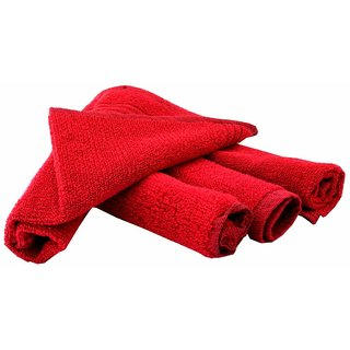Home Berry 450 GSM Red Hand Towels (32cmX46cm) (pack of 4)