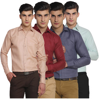 VAN GALIS FASHION WEAR Multicoloured FULL SLEEVES COTTON SHIRT FOR MENS - PACK OF 4