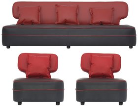 Gioteak Butterfly 5 seater sofa set in red black color with 5 attractive cushions
