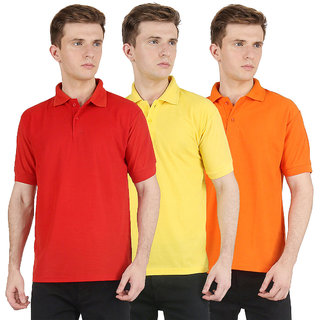 Van Galis Fashion Wear Combo of Multicoloured Polo T-shirts For Mens- Pack of 3